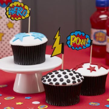 Comic Book Superhero Cupcake Sticks / Food Flags - pack of 20